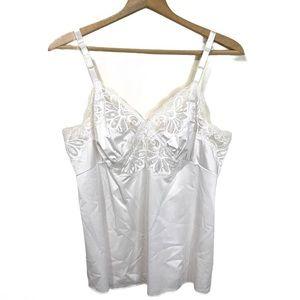 Vintage Shadowline White Slip Top Camisole Lace